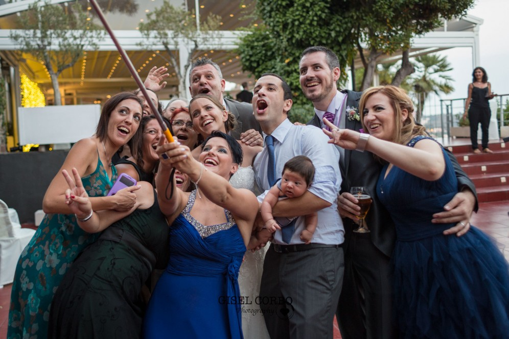 boda barcelona mirabe amigos selfie