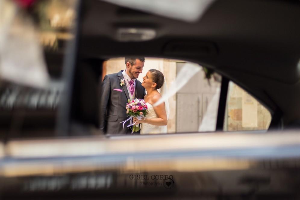 boda barcelona reportaje novios coche